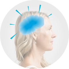 Side profile of a woman with blonde hair with an illustration of chemical dependence.