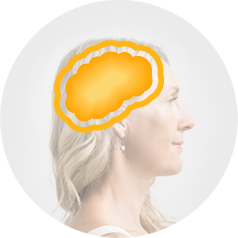 Side profile of a woman with blonde hair with an illustration of dopamine releasing.